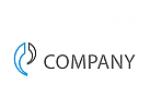 Zwei Halbkreise in blau und grau Logo