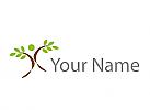 Zeichen, Zeichnung, Person als Baum, Pflanze, Logo
