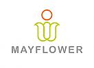 Zeichen, zweifarbig, Signet, Symbol, Mensch, Blume, Pflanze, Sonne, Logo