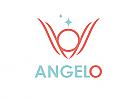 Zeichen, zweifarbig, Signet, Symbol, Mensch, Engel. Flügel, Stern, Logo