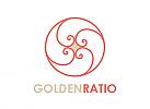 Zeichen, zweifarbig, Zeichnung, Signet, Symbol, Wellen, Kreis Goldener Schnitt
