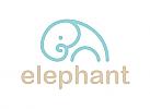 Zeichnung, zweifarbig, Zeichen, Signet, Symbol, Logo, Elephant