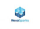 Ö,Daten, Sechseck, Hexagon, Funken, Internet, Technik, Kommunikation, Pixel, Rechtecke, Beratung, Consulting