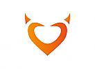 Zeichen, Signet, Symbol, Herz, teufel, Hörner, Logo