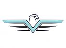 Zeichen, Zeichnung, zweifarbig, Signet, Symbol, Vogel, Adler, V, Logo