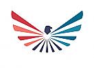 Zeichen, Zeichnung, Signet, Symbol, Adler, Flügel, Strahlen, Farbfächer, Logo