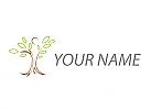 Öko, Person in Bewegung, Pflanze, Baum, Logo