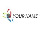Kugel und viele Halbkreise, Wellen, Logo