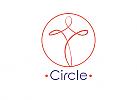Zeichen, zweifarbig, Signet, Symbol, Mensch, Schleife, Yoga, Sport, Physiotherapie, Logo