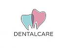 Zahnarzt-Logo, zweifarbig, zwei Zähne, Dental-Care, Logo