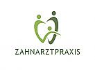 Zahnarzt-Logo, zweifarbig, Zahn, Menschen, Familie, Logo