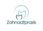 Zahnarzt, Zahnarztpraxis, zweifarbig, zwei, Zähne, Logo