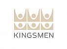 Zeichen, zweifarbig, Signet, Symbol, Krone, Menschen, Kingsmen, Logo