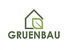Ökologie, Ökohaus, Zeichen, zweifarbig, Signet, Symbol, Haus, Natur, Logo