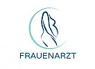 Zeichnung, zweifarbig, Zeichen, Signet, Symbol, Frau, Schwangerschaft, Frauenarzt, Hebamme, Logo