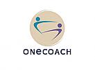 Zeichen, zweifabig, Zeichnung, zwei Menschen, Signet, Coaching, Team, Logo