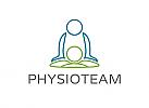 Zeichen, zweifarbig, Signet, Symbol, Physiotherapie, Massage, Praxis, Logo