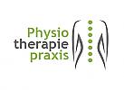 Zeichen, zweifarbig, Signet, Symbol, Physiotherapie, Rücken, Wirbelsäule, Punkte, Logo
