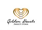 Zeichen, Marke, goldene Herzen, Heiratsagentur, Datingagentur