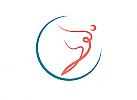 ö, Zeichen, zweifarbig, Signet, Symbol, Mensch, Frau, Bewegung, Tanz, Physio, Logo