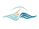 Zeichen, zweifarbig, Signet, Symbol, Segelboot, Wellen, Ozean, Logo