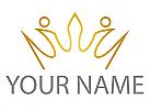 Zeichen, Zeichnung, Symbol, Krone in Gold, Logo