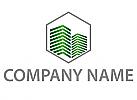 Sechseck, Zwei Hochhäuser Logo