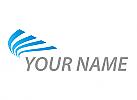 Zweifarbig, Zeichen, Zeichnung, Flügel in blau, Transport, Logistik, Logo