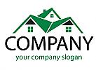 Öko-Häuser, Zweifarbig, Drei Häuser, Dächer, Immobilien, Logo