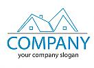 Öko-haus, Zwei Häuser, Dächer in blau, Immobilien Logo