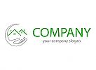 Ökologie, Öko-haus, Zwei Häuser, Dächer und Hand, Immobilien Logo