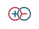 Zeichen, zweifarbig, Signet, Symbol, Plus, Minus, Elektriker, Logo
