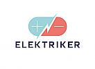 Zeichen, zweifarbig, Signet, Symbol, Baterie, Strom, Elektriker, Logo