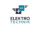 Zeichen, zweifarbig, Signet, Symbol, Elektriker, Elektrotechnik, Quadrate, Logo