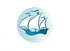 Zeichen, Signet, Kogge, Schiff, Boot, Segel, Wellen, Logo