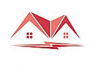 Zeichen, zweifarbig, Signet, Symbol, Elektriker, Dachdecker, Haus, Handwerk, Bau, Logo