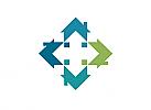 Ökologie, Zeichen, Signet, Symbol, Häuser, Immobilien, Konstruktion, Logo