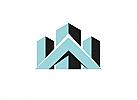 Zeichen, zweifarbig, Signet, Symbol, Haus, Skyline, Dach, Krone, Logo