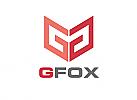 Zeichen, zweifarbig, Signet, Symbol, Fuchs, G, Logo