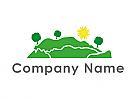 Ökologisch, Berge, Bäume, Sonne, Gärtner, Logo