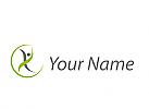 Ökomedizin, Orthopädie, Physiotherapie, Person in Bewegung, Kreis, Logo