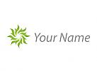 Ökologisch, Spirale in Grün, Blätter, Logo