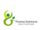 Zeichen, Symbol, zwei Menschen im Kreis, Heilpraktiker, Initial G