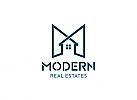 Ö, Öko, Zeichen, Zeichnung, Symbol, Modernes Haus in blau Logo, Buchstabe M