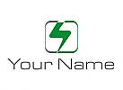 Zweifarbig, Blitz, Strom, Rechteck, Elektriker, Logo