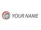 Ökologisch, Zwei Kreise, Sonne und Wellen Logo