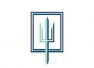 Zeichen, zweifarbig, Signet, Symbol, Neptun, Wassermann, Dreizack, Klempner, Handwerk, Logo
