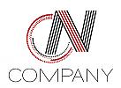 Zeichen, zweifarbig, Signet, Symbol, C, N, CN Logo, Streifen, Linien, Wirbel