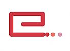 Zeichen, Signet, Symbol, Linie, Punkte, Buchstabe, e, Logo