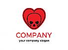 Schädel Logo, Schädel, Liebe logo, Herz logo,Firma Logo, Unternehmen Logo, Beratung Logo, Logo, Grafikdesign, Design, Branding